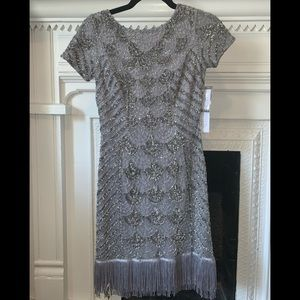 Aidan Mattox beaded cocktail dress w/ fringe hem
